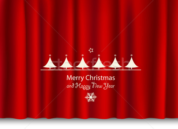 christmas and new year greeting on a red shiny curtain Stock photo © dip