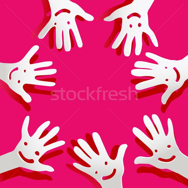 Papier mains visages enfants fond Palm Photo stock © dip