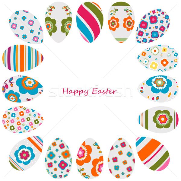 Colorato easter eggs frame decorato fiori design Foto d'archivio © dip