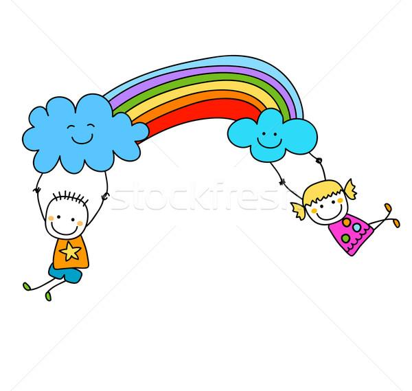 Feliz crianças arco-íris menina escolas olhos Foto stock © dip