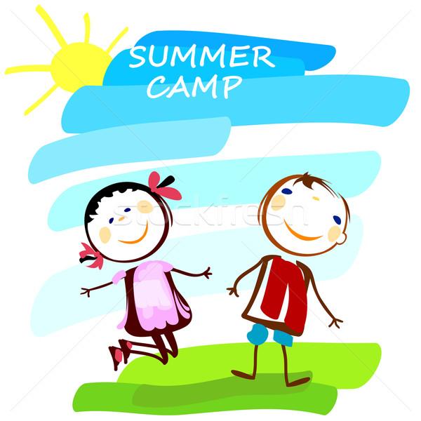 Yaz kampı poster kız gökyüzü mutlu Stok fotoğraf © dip