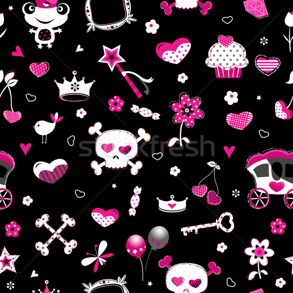 aggressive style princess seamless pattern Stock photo © dip