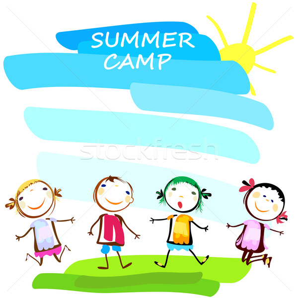 summer camp poster with happy kids Stock photo © dip
