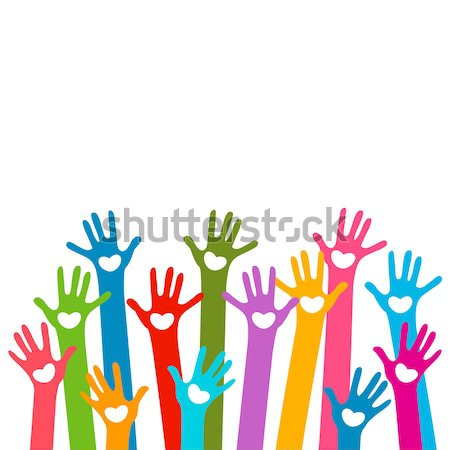 Mãos corações projeto fundo equipe cores Foto stock © dip