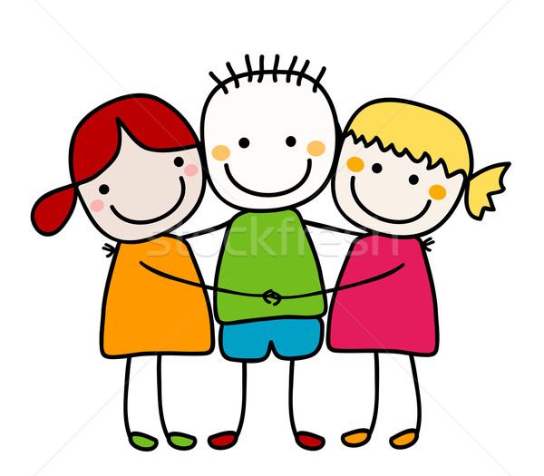Stock fotó: Legjobb · barátok · kezek · mosoly · gyerekek · iskola · boldog