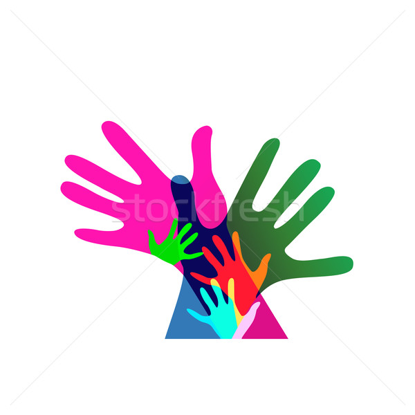 children and adults hands together, no transparencies Stock photo © dip