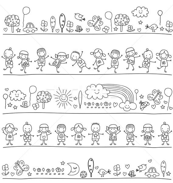 Foto stock: Padrão · crianças · bonitinho · natureza · elementos · flores