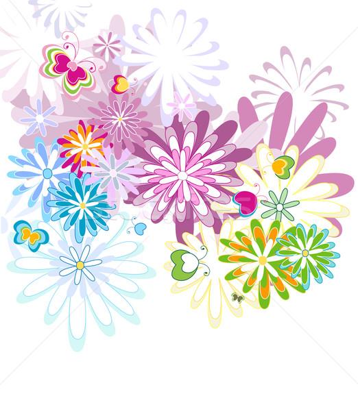 Padrão sem costura teste padrão de flor flor primavera borboleta Foto stock © dip
