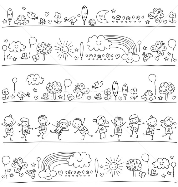 pattern for children with cute nature elements Stock photo © dip