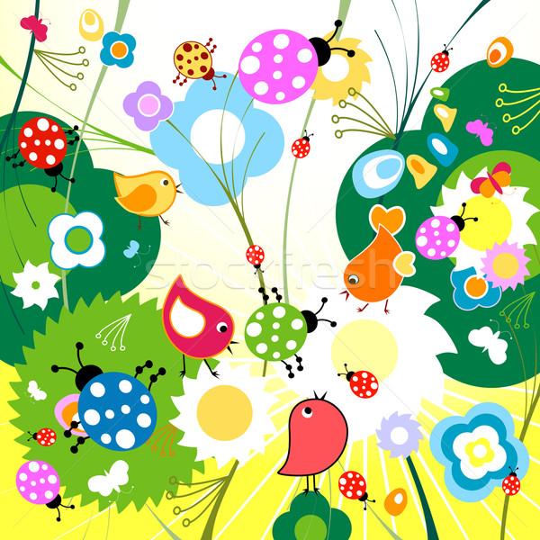 Primavera uccelli fiori albero erba foglia Foto d'archivio © dip