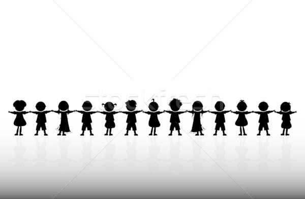 Stockfoto: Gelukkig · kinderen · hand · handen · kinderen · ogen