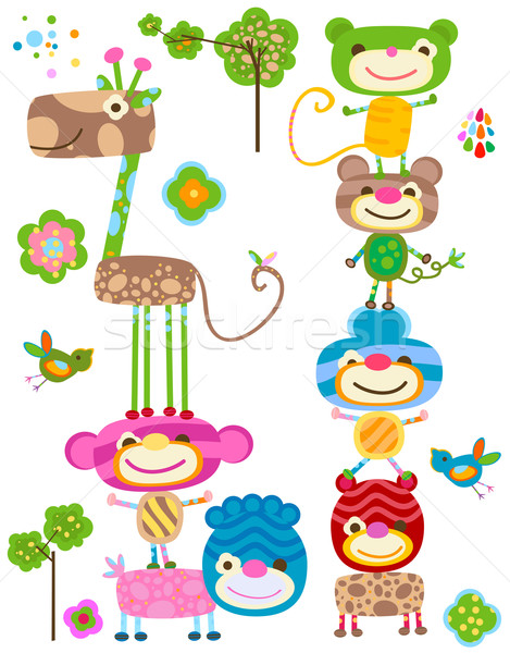 Schattige dieren cute safari dieren gezichten aap grappig Stockfoto © dip
