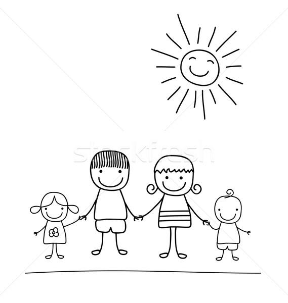 Famiglia Felice Bianco Nero Bambino Come Disegno