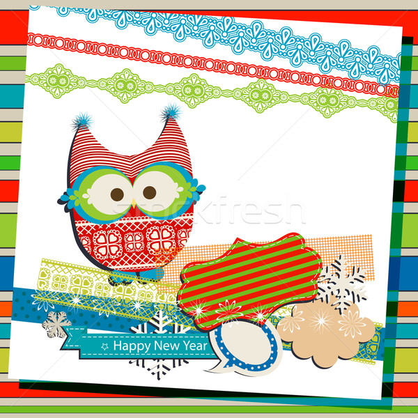 winter scrapbook template Stock photo © dip