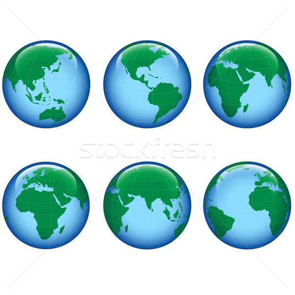 Lucido terra mappa pianeta terra sei mondo Foto d'archivio © dip