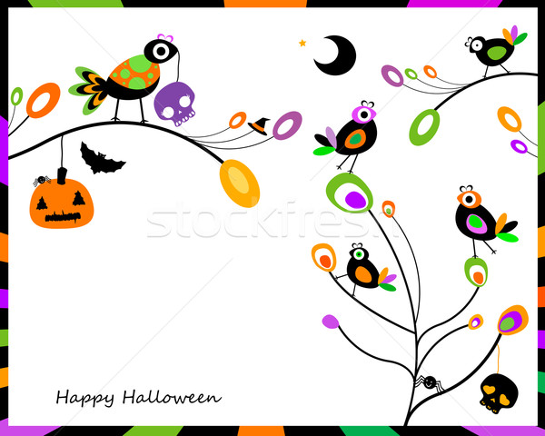 Halloween karty szczęśliwy posiedzenia drzewo Zdjęcia stock © dip