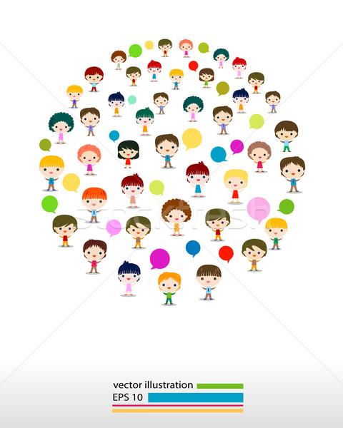 Enfants parler enfants yeux design foule Photo stock © dip