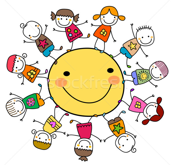 Feliz crianças brincando em torno de sol sorrir crianças Foto stock © dip