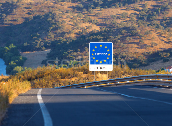 Road sign on the border, Spain Stock photo © Discovod