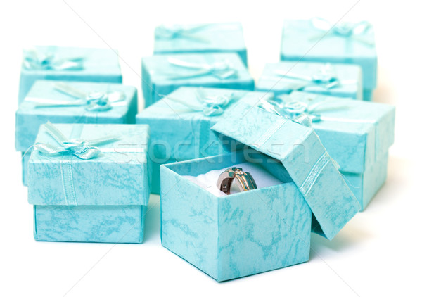 Cyan gift boxes with ring Stock photo © Discovod
