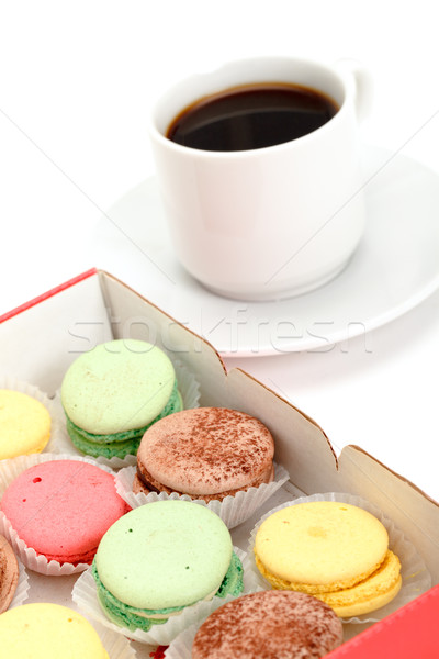 Colorful Macaroon and cup of coffee Stock photo © Discovod