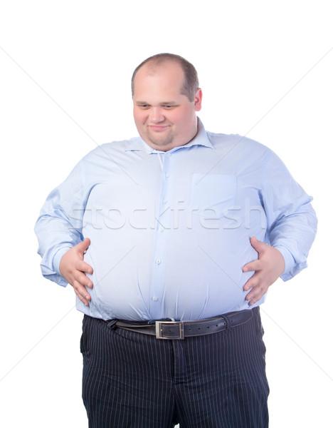 Szczęśliwy grubas niebieski shirt odizolowany człowiek Zdjęcia stock © Discovod