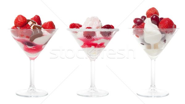 Stock photo: Three Cup Ice Cream with Berries