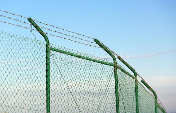Stock fotó: Háló · kerítés · szögesdrót · kék · ég · háttér · fém