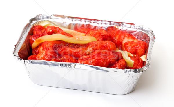 куриные Sweet кислый соус китайский продовольствие красный Сток-фото © Discovod
