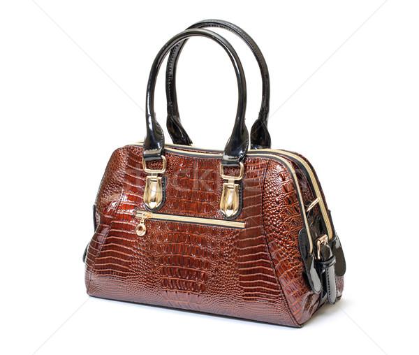ブラウン 革 女性 ハンドバッグ 白 テクスチャ ストックフォト © Discovod