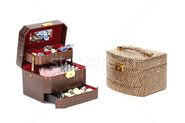 Leather box for cosmetic or jewelry Stock photo © Discovod