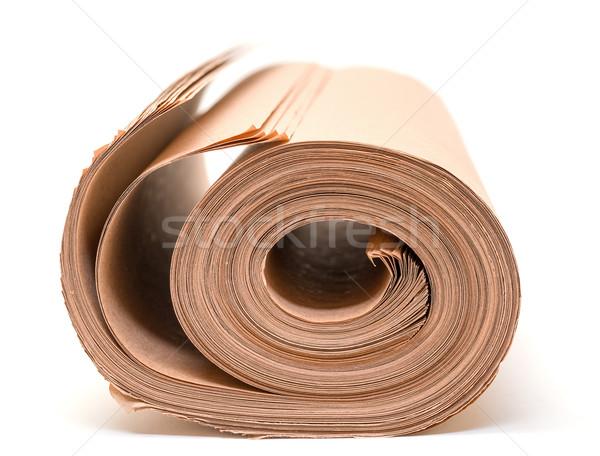 Rulo kahverengi kağıt ambalaj beyaz kâğıt arka plan Stok fotoğraf © Discovod