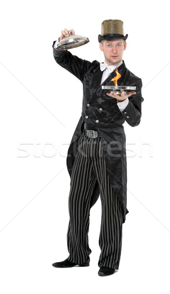 Illusionist Shows Tricks with Fire Stock photo © Discovod