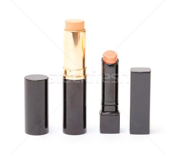 Rouge à lèvres fondation crème blanche fond beauté Photo stock © Discovod