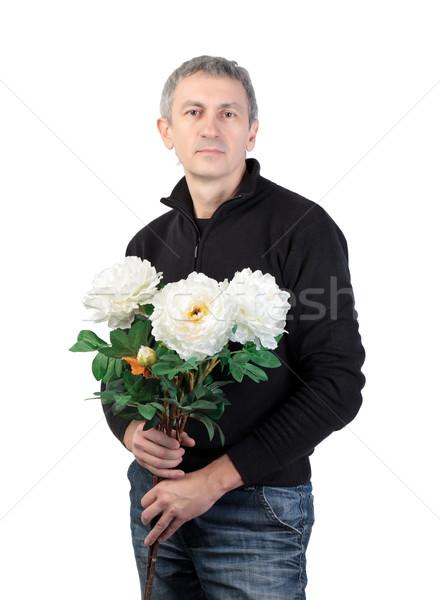 Homem buquê flores branco sorrir Foto stock © Discovod