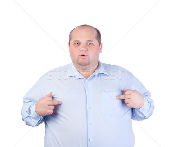 Grubas niebieski shirt nieprzyzwoity gesty Zdjęcia stock © Discovod