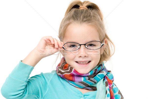 Little girl óculos posando branco menina criança Foto stock © Discovod