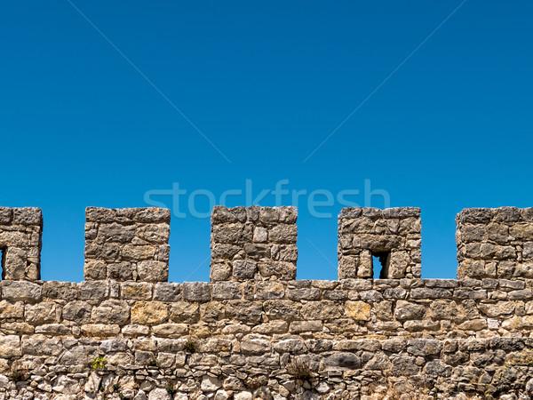 ストックフォト: 古代 · 石 · 壁 · 青空 · テクスチャ