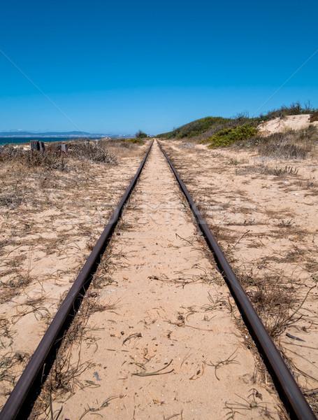 çelik kum plaj tren mavi Stok fotoğraf © Discovod