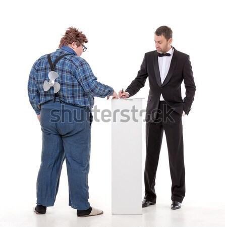 Foto stock: Dois · homens · desacordo · elegante · homem