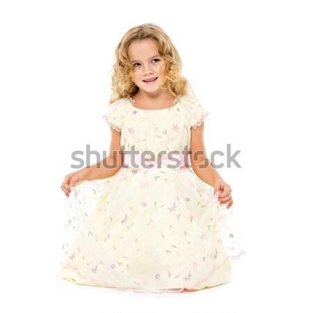 Petite fille lumière robe posant blanche fille Photo stock © Discovod