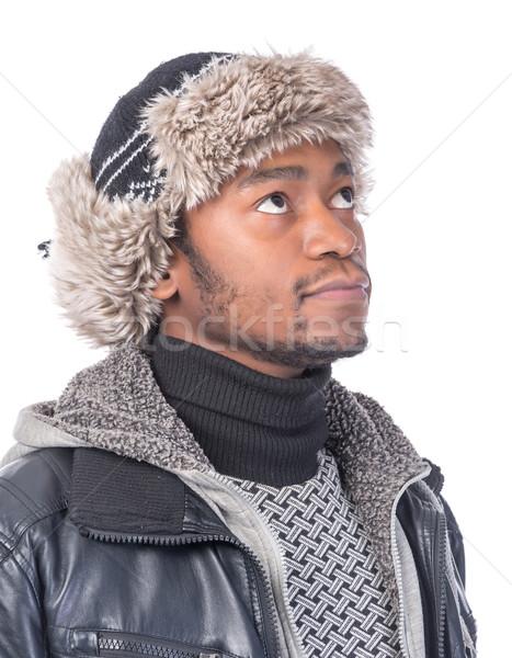肖像 ハンサム 帽子 笑みを浮かべて 着用 毛皮 ストックフォト © Discovod