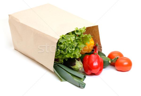 Mercearia saco completo legumes isolado branco Foto stock © Discovod