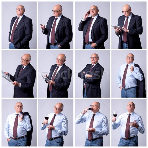 Colagem retrato bem sucedido senior homem cinza Foto stock © Discovod