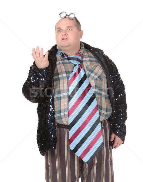 Zwaarlijvig man mode zin leuk portret Stockfoto © Discovod