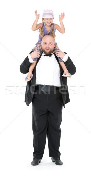 女の子 座って 肩 男 楽しい 白 ストックフォト © Discovod