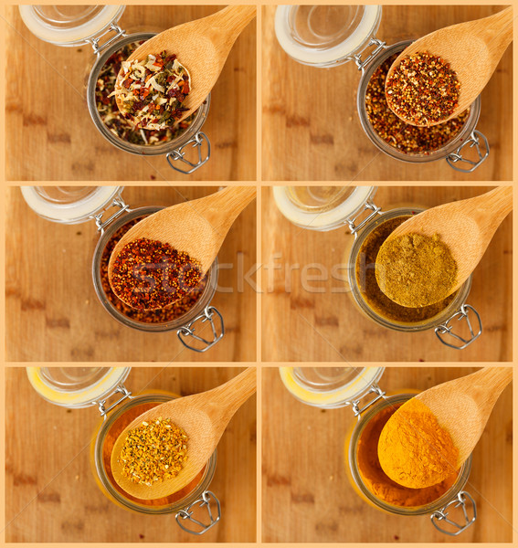 collage of mixture spice in a wooden spoon Stock photo © Discovod