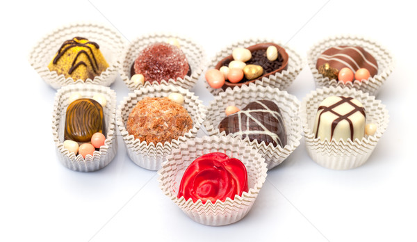 Assorted Chocolates Candy in Paper Basket Stock photo © Discovod