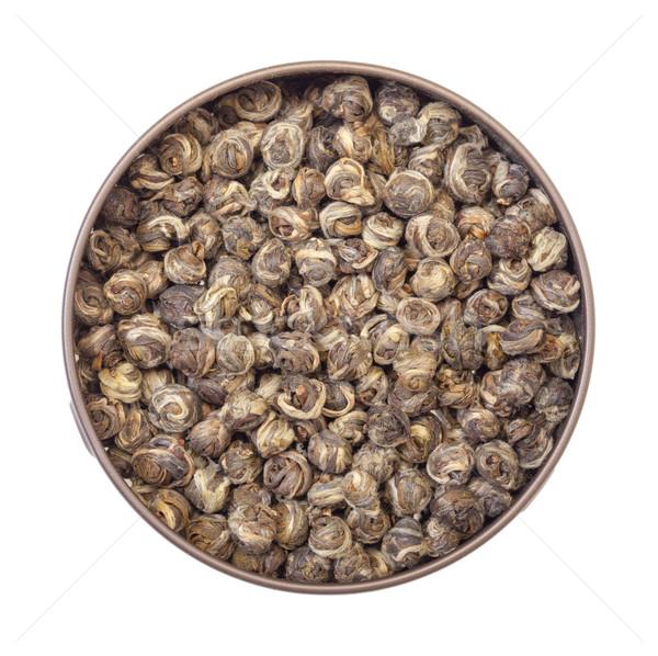 китайский зеленый чай олово банку изолированный белый Сток-фото © Discovod