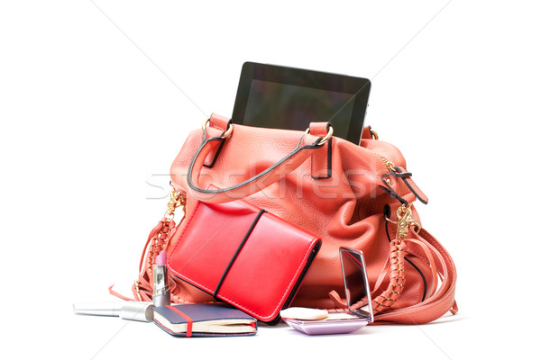 Pink Leather Ladies Handbag with Tablet PC on white background  Stock photo © Discovod